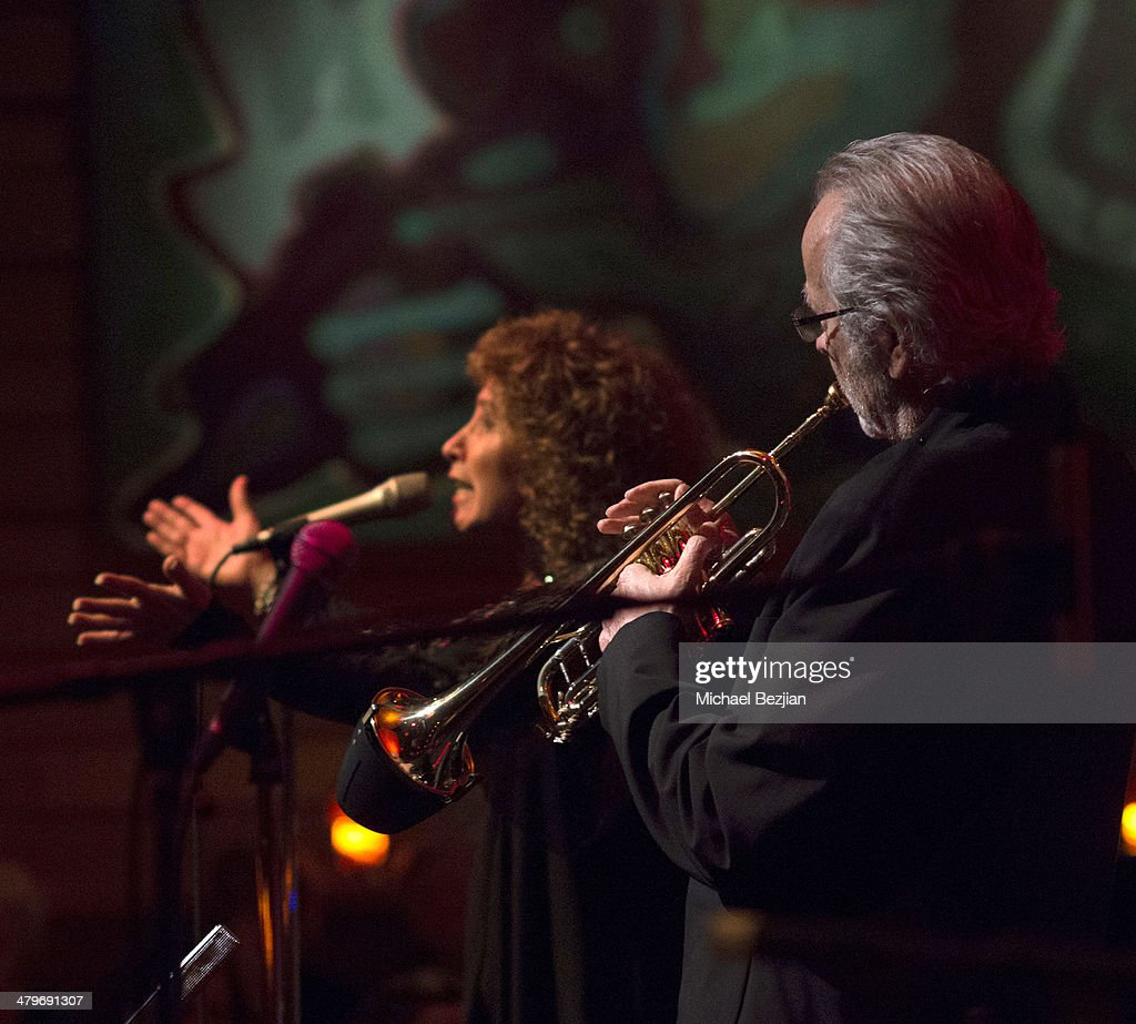 Singer Lani Hall and Trumpeter <a gi-track='captionPersonalityLinkClicked' href=/galleries/search?phrase=Herb+Alpert&family=editorial&specificpeople=700404 ng-click='$event.stopPropagation()'>Herb Alpert</a> perform at <a gi-track='captionPersonalityLinkClicked' href=/galleries/search?phrase=Herb+Alpert&family=editorial&specificpeople=700404 ng-click='$event.stopPropagation()'>Herb Alpert</a> And Lani Hall Performance At Vibrato Grill at Vibrato Grill Jazz on March 19, 2014 in Beverly Hills, California.