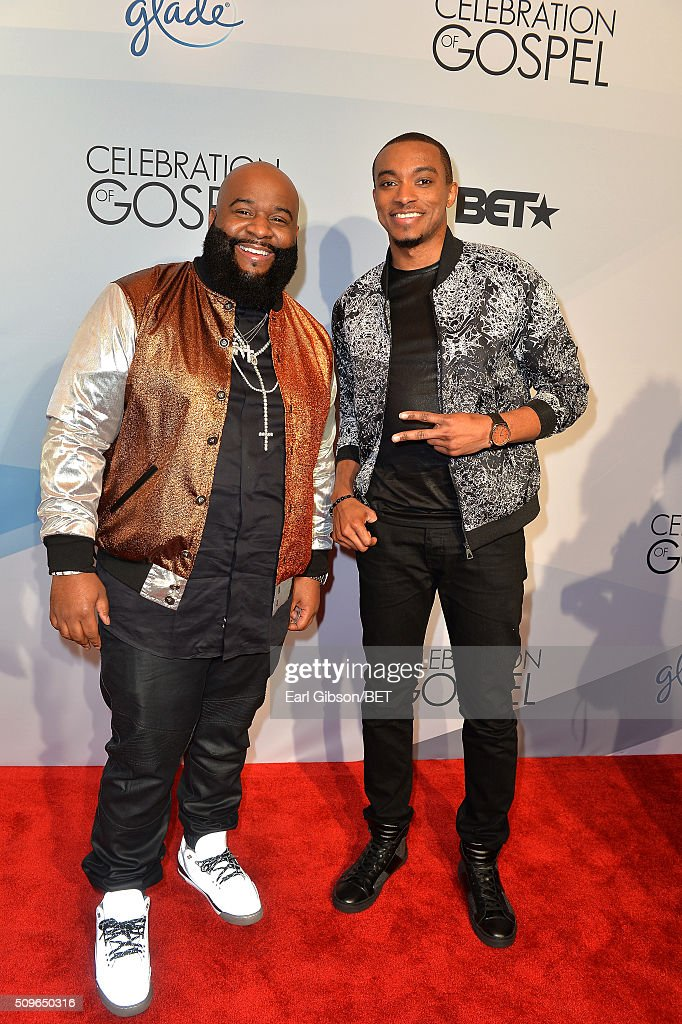 Singer LaShawn Daniels aka Big Shiz and musician Jonathan McReynolds attend BET Celebration Of Gospel 2016 at Orpheum Theatre on January 9 2016 in...