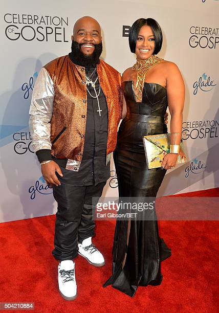 Singer LaShawn Daniels aka Big Shiz and TV personality April Daniels attend BET Celebration Of Gospel 2016 at Orpheum Theatre on January 9 2016 in...