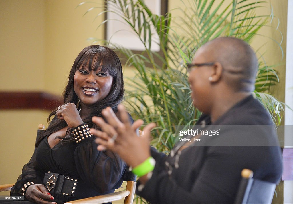R&B singer LaTocha Scott and author Felecia Hatcher attends the Jazz in the Gardens Women's Impact Conference and Luncheon at Shula's Hotel & Gold Club on March 15, 2013 in Miami Lakes, Florida.