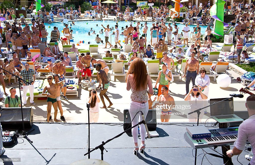 Singer Laura Michelle performs at the SPLASH pool party during Jeffrey Sanker presents White Party Palm Springs 2013 Day 3 at the Renaissance hotel on March 31, 2013 in Palm Springs, California.