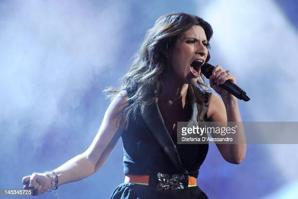 Singer Laura Pausini performs live during 2012 Wind Music Awards held at Arena of Verona on May 26 2012 in Verona Italy