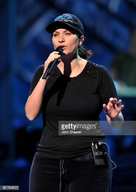 Singer Laura Pausini performs onstage during the 10th Annual Latin GRAMMY Awards Rehearsals Day 3 held at the Mandalay Bay Events Center on November...