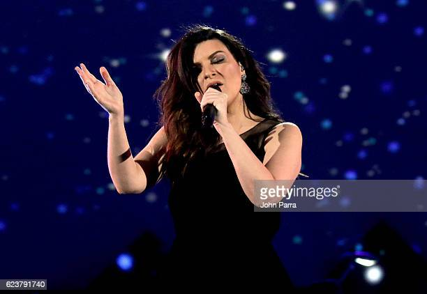 Singer Laura Pausini performs onstage during the 2016 Person of the Year honoring Marc Anthony at MGM Grand Garden Arena on November 16 2016 in Las...