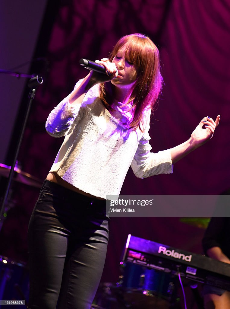Singer Laura Welsh performs at the Fifth Annual Guild Of Music Supervisors Awards at Mack Sennett Studios on January 21 2015 in Los Angeles California