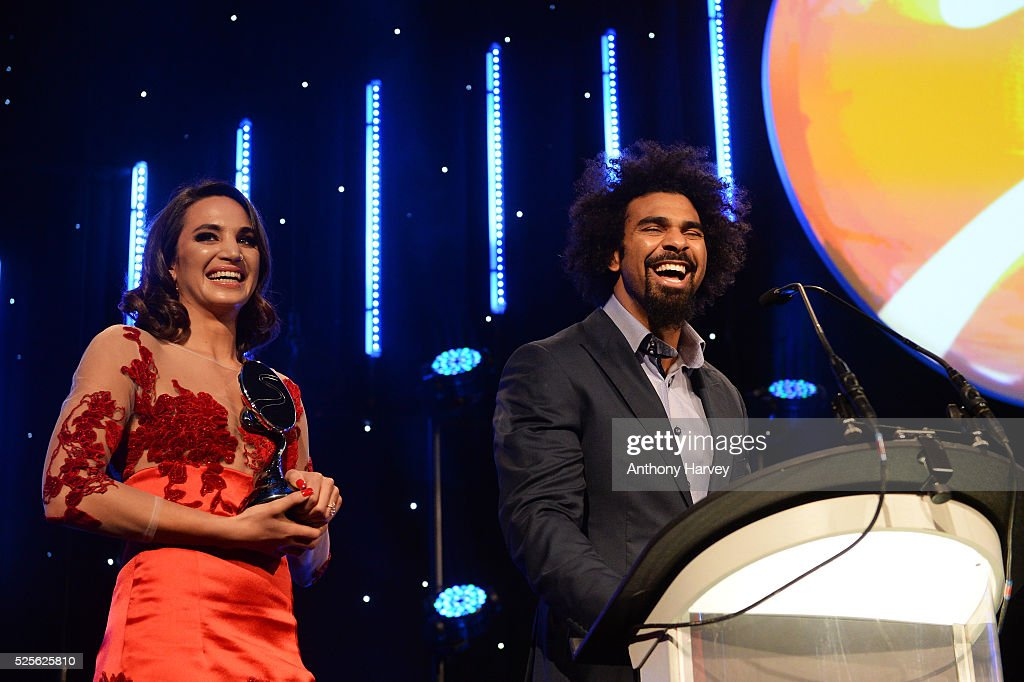 Singer Laura Wright and boxer David Haye present the Best Entertainment Experience award to O2 Wear The Rose LIVE at the BT Sport Industry Awards 2016 at Battersea Evolution on April 28, 2016 in London, England. The BT Sport Industry Awards is the most prestigious commercial sports awards ceremony in Europe, where over 1750 of the industry's key decision-makers mix with high profile sporting celebrities for the most important networking occasion in the sport business calendar.