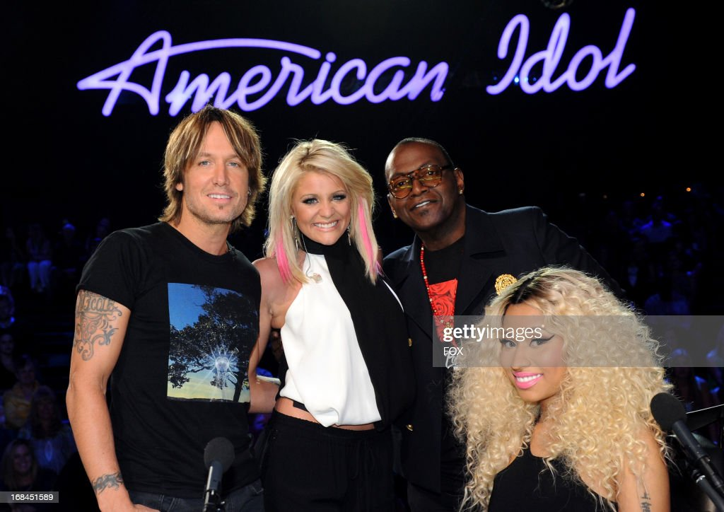 Singer Lauren Alaina (2nd L) and judges Keith Urban (L), Randy Jackson and Nicki Minaj (R) at FOX's 'American Idol' Season 12 Top 3 to 2 Live Elimination Show on May 9, 2013 in Hollywood, California.