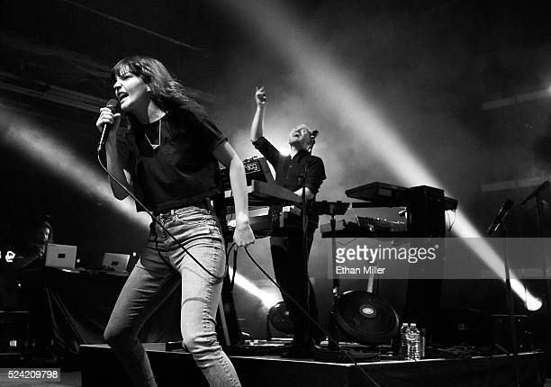 Singer Lauren Mayberry and recording artist/producer Iain Cook of Chvrches perform at Brooklyn Bowl Las Vegas on April 21 2016 in Las Vegas Nevada