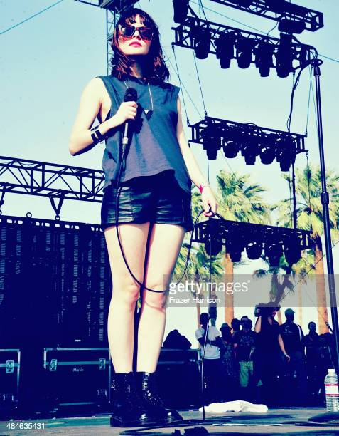 Singer Lauren Mayberry of Chvrches performs onstage during day 2 of the 2014 Coachella Valley Music Arts Festival at the Empire Polo Club on April 12...