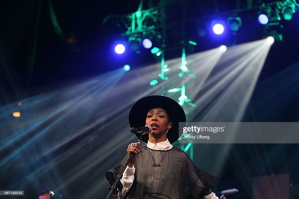 Singer Lauryn Hill performs during the Amnesty International 'Bringing Human Rights Home' Concert at the Barclays Center on February 5, 2014 in the Brooklyn borough of New York City.