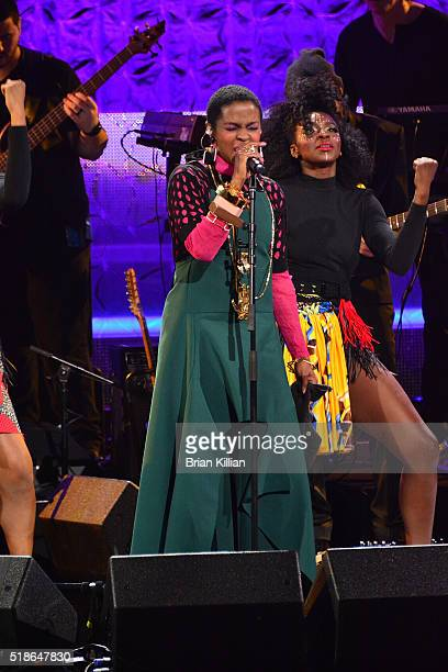 Singer Lauryn Hill performs during the Black Girls Rock 2016 show at New Jersey Performing Arts Center on April 1 2016 in Newark New Jersey