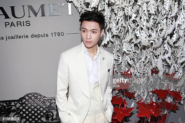 Singer Lay Zhang Yixing of South KoreanChinese boy group Exo attends Chaumet jewelry show on October 20 2016 in Beijing China