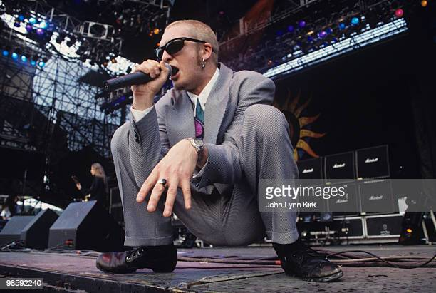 Singer Layne Staley of Alice in Chains performs on stage at the Lollapalooza Festival in July 1993