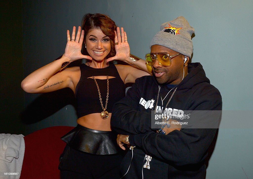 Singer Leah Labelle and producer <a gi-track='captionPersonalityLinkClicked' href=/galleries/search?phrase=Jermaine+Dupri&family=editorial&specificpeople=201712 ng-click='$event.stopPropagation()'>Jermaine Dupri</a> attend the BET Music Matters Grammy Showcase on February 8, 2013 in Los Angeles, California.