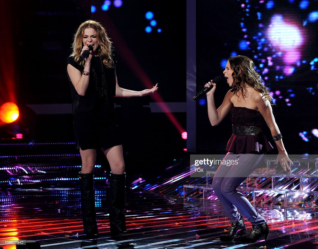 Singer Leann Rimes and top 3 contestant Carly Rose Sonenclar perform onstage at FOX's 'The X Factor' Season 2 Top 3 Live Performance Show on December 19, 2012 in Hollywood, California.