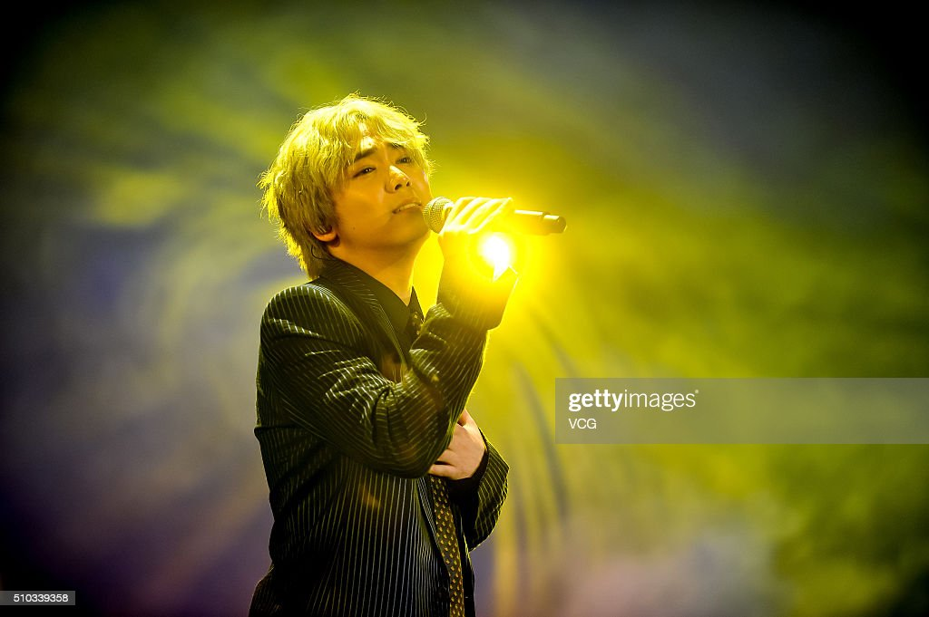Singer Lee Honggi of the South Korean pop rock band FT Island performs on stage in concert at AsiaWorldExpo on February 14 2016 in Hong Kong Hong Kong