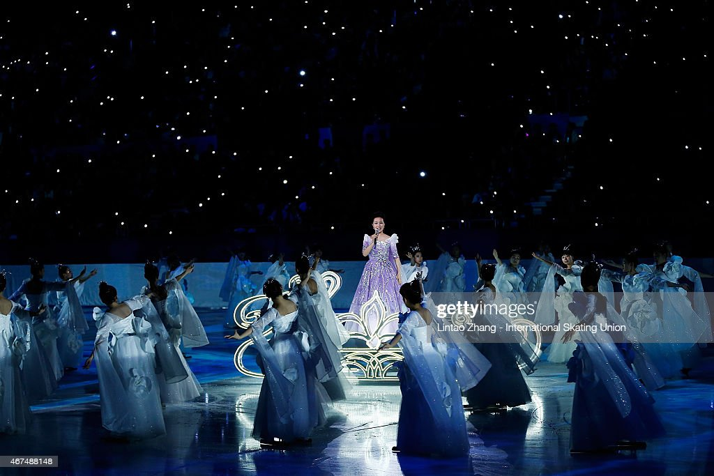 Singer Lei Jia perform on the ice during the opening ceremony of the 2015 ISU World Figure Skating Championships at Shanghai Oriental Sports Center...