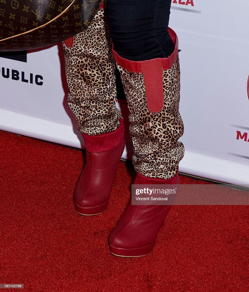 Singer Lelee Lyons (shoe detail) of SWV attends VIBE Magazine's 20th anniversary celebration with inaugural impact awards - Arrivals at Sunset Tower on February 8, 2013 in West Hollywood, California.