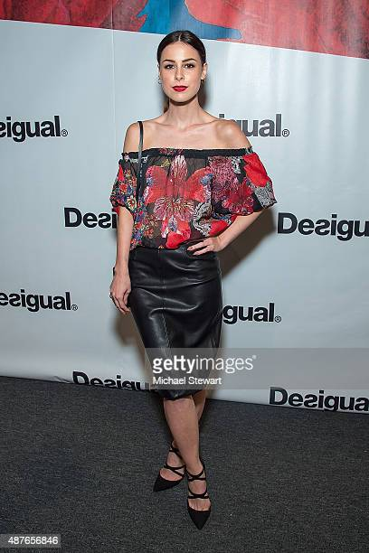 Singer Lena MeyerLandrut attends the Desigual fashion show during Spring 2016 New York Fashion Week at The Arc Skylight at Moynihan Station on...