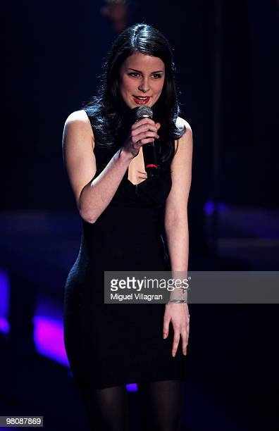 Singer Lena MeyerLandrut performs during the 188th 'Wetten dass ' show at Messezentrum Salzburg on March 27 2010 in Salzburg Austria