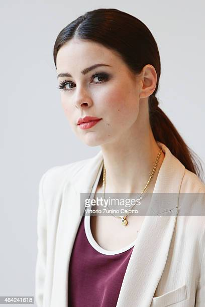 Singer Lena MeyerLandrut poses for a portrait during the 65th Berlinale International Film Festival at the L'Oreal Cocobello styling studio on...