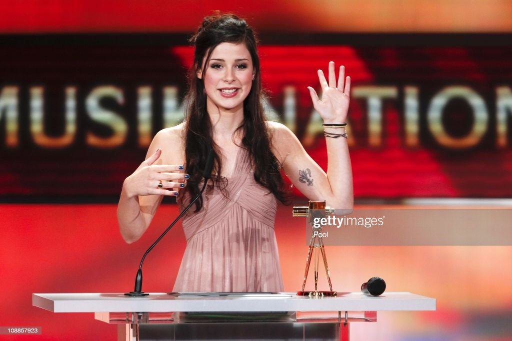 Singer <a gi-track='captionPersonalityLinkClicked' href=/galleries/search?phrase=Lena+Meyer-Landrut+-+German+Singer&family=editorial&specificpeople=6837968 ng-click='$event.stopPropagation()'>Lena Meyer-Landrut</a> speaks after receiving the golden camera during the 46th Golden Camera awards at the Axel Springer Haus on February 5, 2011 in Berlin, Germany.