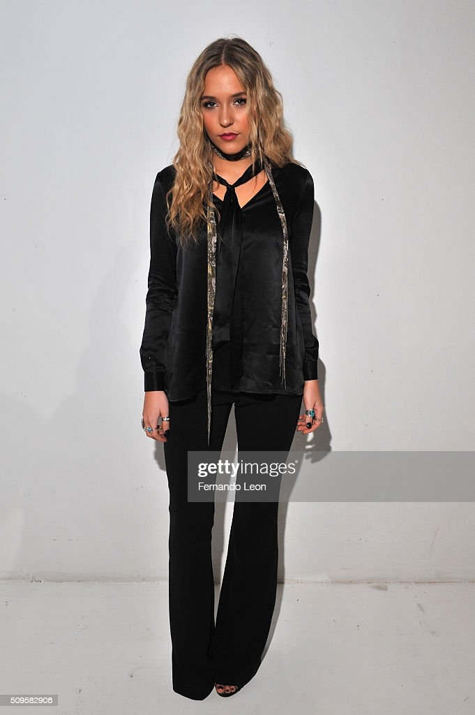 Singer, Lennon Stella, poses wearing Jay Godfrey Fall 2016 during New York Fashion Week: The Shows at The Space, Skylight at Clarkson Square on February 11, 2016 in New York City.