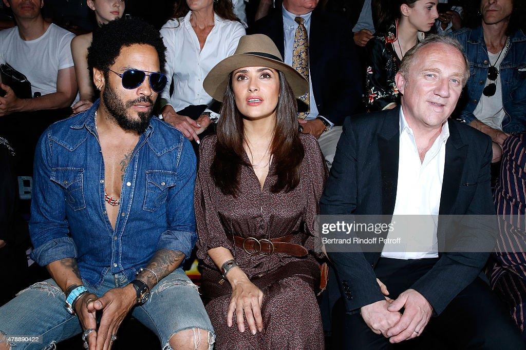 Singer Lenny Kravitz, Actress Salma Hayek and Francois-Henri Pinault attend the Saint Laurent Menswear Spring/Summer 2016 show as part of Paris Fashion Week on June 28, 2015 in Paris, France.