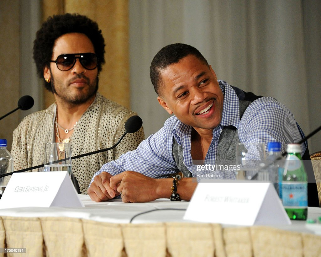 Singer <a gi-track='captionPersonalityLinkClicked' href=/galleries/search?phrase=Lenny+Kravitz&family=editorial&specificpeople=171613 ng-click='$event.stopPropagation()'>Lenny Kravitz</a> (L) and actor Cuba Gooding, Jr. attend the press conference for The Weinstein Company's LEE DANIELS' THE BUTLER at Waldorf Astoria Hotel on August 5, 2013 in New York City.