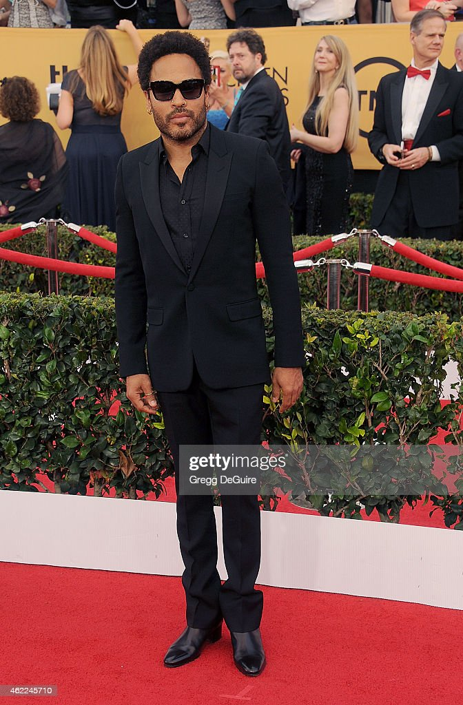Singer <a gi-track='captionPersonalityLinkClicked' href=/galleries/search?phrase=Lenny+Kravitz&family=editorial&specificpeople=171613 ng-click='$event.stopPropagation()'>Lenny Kravitz</a> arrives at the 21st Annual Screen Actors Guild Awards at The Shrine Auditorium on January 25, 2015 in Los Angeles, California.
