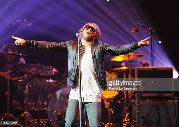 Singer Lenny Kravitz performs on stage during the Peace One Day 10th Anniversary concert at Le Grand Rex on September 19 2009 in Paris France