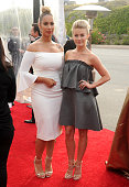 Singer Leona Lewis and actress Julianne Hough arrive at the 3rd Biennial Rebels With A Cause Fundraiser at Barker Hangar on May 11 2016 in Santa...