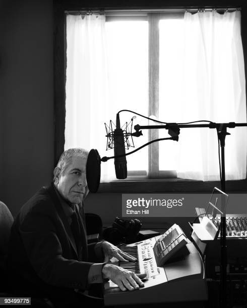 Singer Leonard Cohen poses at a portrait session at his home in Los Angeles for Rolling Stone Magazine