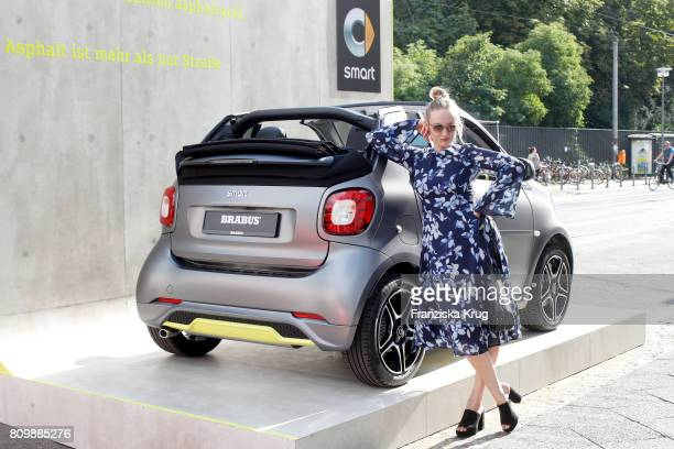 Singer Leslie Clio attends the smart Popup Showroom Presents 'smart | BRABUS Edition Asphaltgold' at the smart Popup Showroom on July 6 2017 in...
