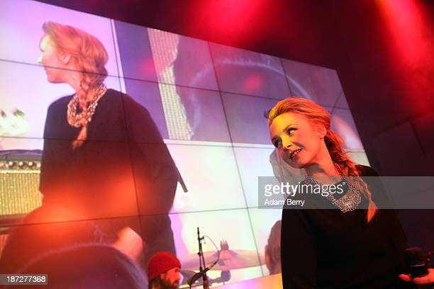 Singer Leslie Clio peforms at the opening of the Microsoft Center Berlin on November 7 2013 in Berlin Germany The Microsoft Center Berlin part of a...