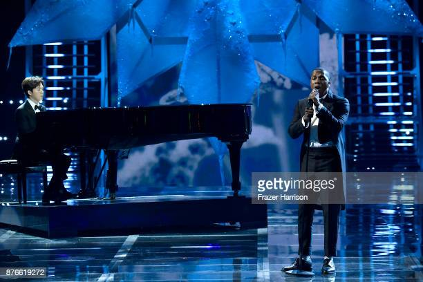 Singer Leslie Odom Jr performs on the runway during the 2017 Victoria's Secret Fashion Show In Shanghai at MercedesBenz Arena on November 20 2017 in...