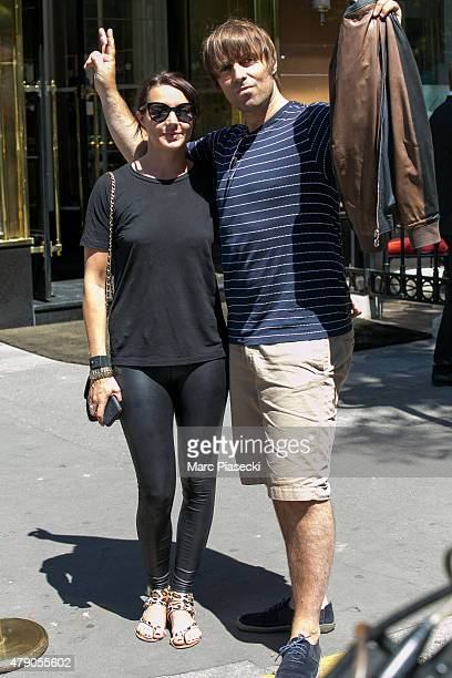 Singer Liam Gallagher and girlfriend Debbie Gwyther are seen strolling on Avenue Montaigne on June 30 2015 in Paris France