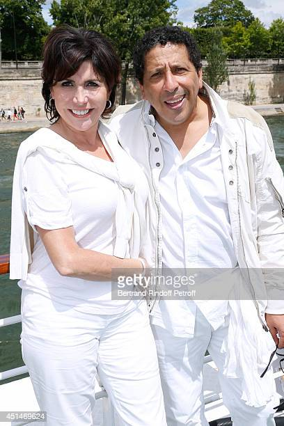 Singer Liane Foly and Smain attend the 'Brunch Blanc' hosted by Barriere Group Held on Yacht 'Excellence' on June 29 2014 in Paris France