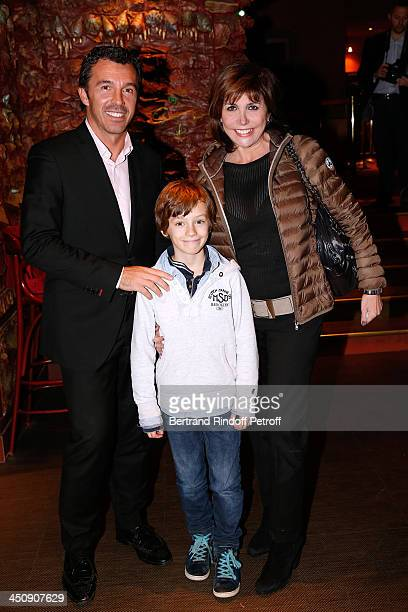 Singer Liane Foly with her husband David Rigaut and her son Victor attend Coca Cola Christmas Father Waxwork Unveiling Event at Musee Grevin on...