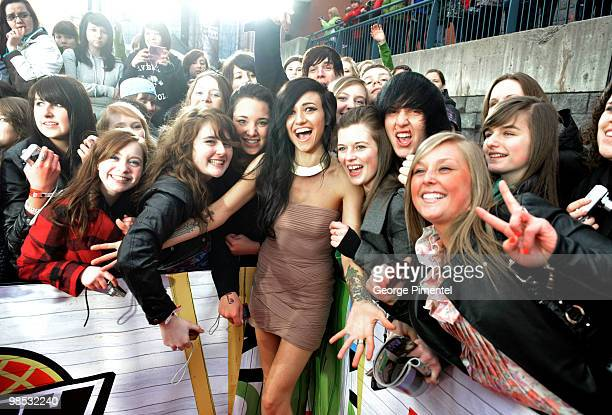 Singer Lights poses on CTV's Red Carpet at the 2010 Juno Awards at the Mile One Centre on April 18 2010 in Saint John's Canada