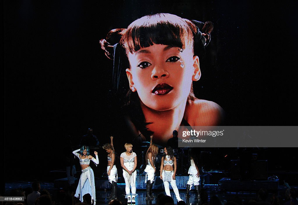 Singer <a gi-track='captionPersonalityLinkClicked' href=/galleries/search?phrase=Lil+Mama&family=editorial&specificpeople=4231669 ng-click='$event.stopPropagation()'>Lil Mama</a> performs with singers Tionne '<a gi-track='captionPersonalityLinkClicked' href=/galleries/search?phrase=T-Boz&family=editorial&specificpeople=715877 ng-click='$event.stopPropagation()'>T-Boz</a>' Watkins and Rozonda 'Chilli' Thomas of TLC onstage during the 2013 American Music Awards at Nokia Theatre L.A. Live on November 24, 2013 in Los Angeles, California.