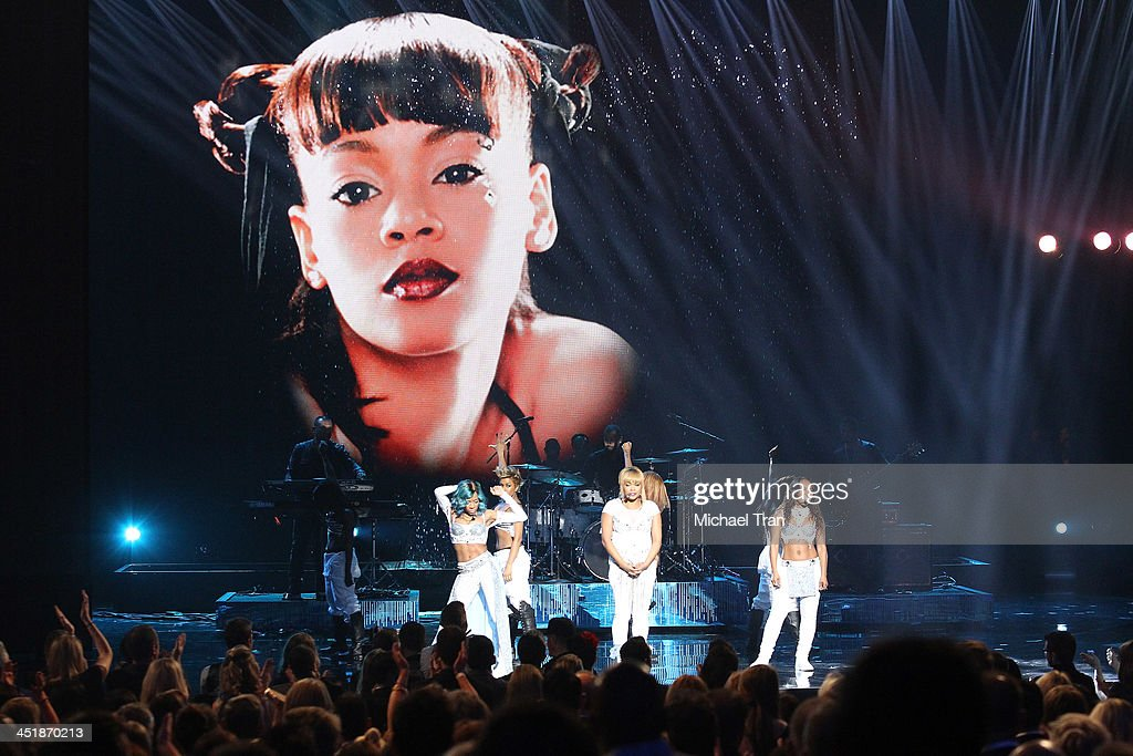 Singer Lil Mama performs with singers Tionne 'TBoz' Watkins and Rozonda 'Chilli' Thomas of TLC onstage at the 2013 American Music Awards held at...