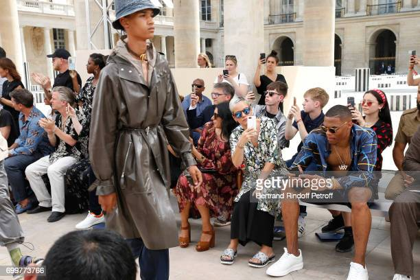 Singer Lily Allen and BasketBall player Russell Westbrook attend the Louis Vuitton Menswear Spring/Summer 2018 show as part of Paris Fashion Week on...