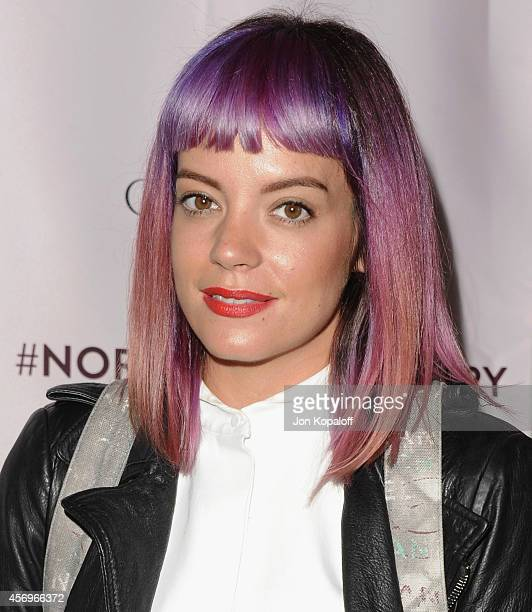 Singer Lily Allen arrives at Charlotte Tilbury's Makeup Your Destiny Beauty Festival At Nordstrom at Nordstrom at the Grove on October 9 2014 in Los...