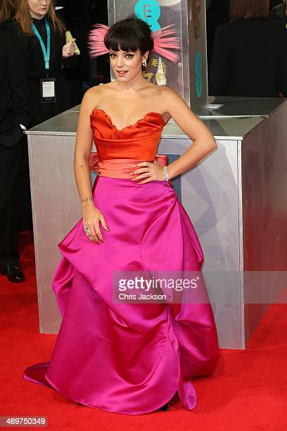 Singer Lily Allen attends the EE British Academy Film Awards 2014 at The Royal Opera House on February 16 2014 in London England