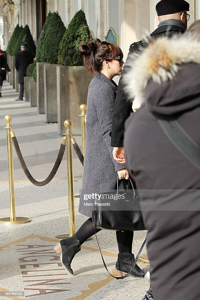 Singer Lily Allen is sighted arriving at the 'Angelina' tea room on February 26, 2013 in Paris, France.