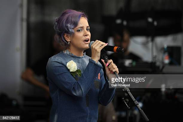 Singer Lily Allen on stage during a memorial event for murdered Labour MP Jo Cox at Trafalger Square on June 22 2016 in London United Kingdom On what...