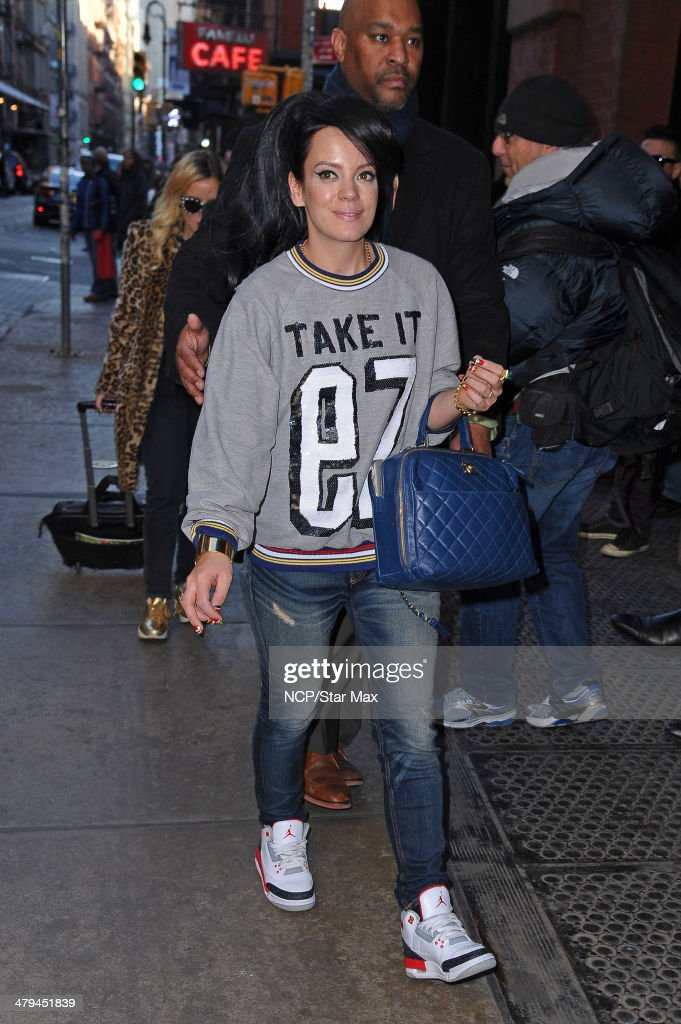 Singer Lily Allen seen on March 18, 2014 in New York City.