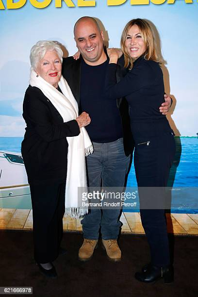 Singer Line Renaud CoDirector Jerome Commandeur and actress Mathilde Seigner attend the 'Ma famille t'adore deja' Paris Premiere at Cinema Elysee...