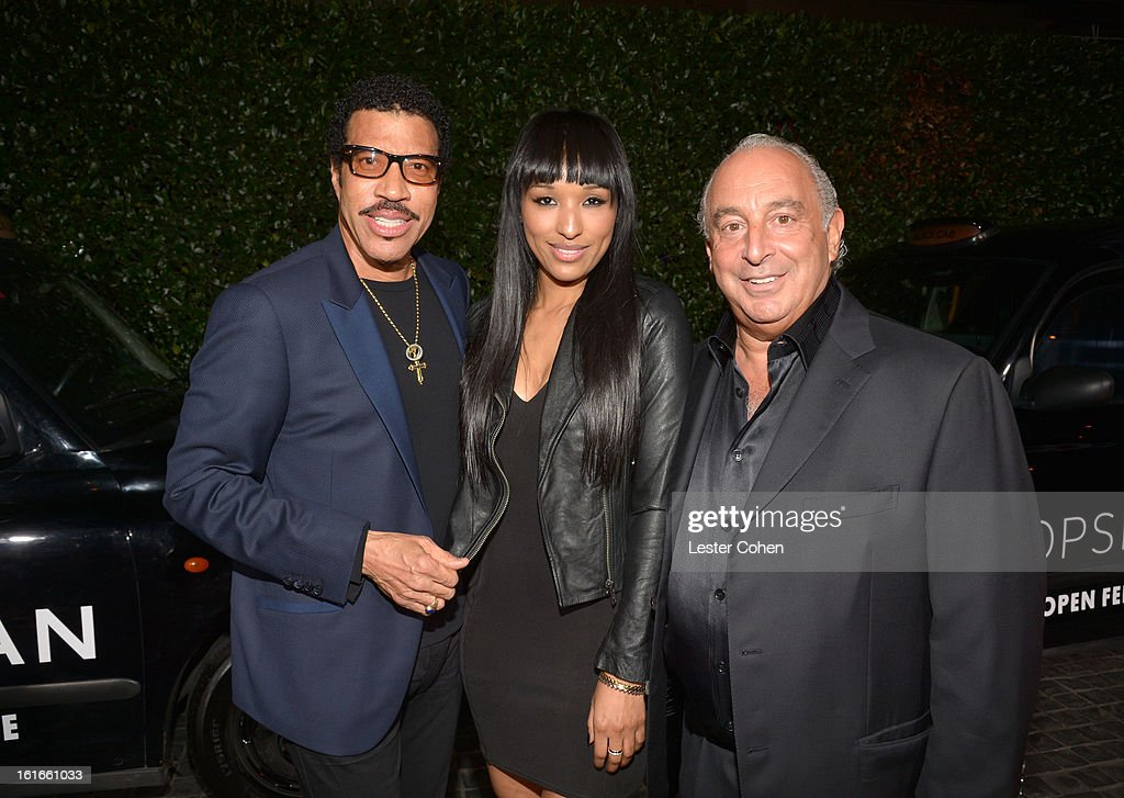 Singer <a gi-track='captionPersonalityLinkClicked' href=/galleries/search?phrase=Lionel+Richie&family=editorial&specificpeople=204139 ng-click='$event.stopPropagation()'>Lionel Richie</a> and proprietor Sir Philip Green arrive at the Topshop Topman LA Opening Party at Cecconi's West Hollywood on February 13, 2013 in Los Angeles, California.